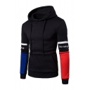 Mens Leisure Colorblock Letter Patch Long Sleeve Kangaroo Pocket Fitted Drawstring Hoodie