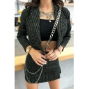 Womens Casual Green Plaid Pattern Long Sleeve Double Breasted Cropped Blazer Coat