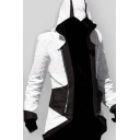 Halloween Mens Colorblock Double Zipper Swallow-Tailed Longline Cosplay Costume Outwear Hooded Jacket Coat