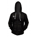 Cool Plain Black Cosplay Costume Long Sleeve Zipper Drawstring Hoodie