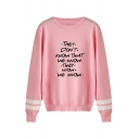Funny Letter THEY DON'T KNOW THAT WE KNOW THEY KNOW WE KNOW Printed Stripe Embellished Pullover Sweater
