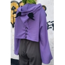 Girls Loose Purple Lace-Up Back Long Sleeve Zipper Devil Horns Hooded Cropped Jacket Coat