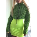 Black and Green Grids Print High Collar Long Sleeve Drawstring Hem Zipper Cropped Down Coat
