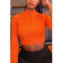 Womens Plain Sexy High Neck Long Sleeve Half-Zip Ribbed Knit Bodycon Crop Pullover Sweater Top