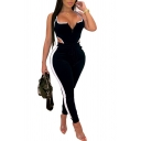 Womens Sexy Sleeveless Striped Panel Cutout Detail Drawstring Waist Tank Jumpsuits