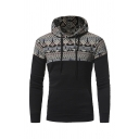 Mens Stylish Ethnic Style Floral Printed Long Sleeve Slim Fit Drawstring Hoodie