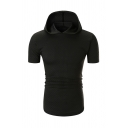 Mens Simple Plain Plaid Embossed Curved Hem Short Sleeve Hooded T-Shirt Slim Fit Hoodie
