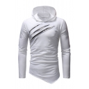 Mens Casual Ripped Scratch Long Sleeve Asymmetric Hem Plain Fitted Pullover Hoodie