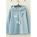 Girls Lovely Carrot Rabbit Embroidery Stripe Panel Long Sleeve Loose Fit Cute Hoodie
