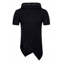 Mens Casual Drawstring Hood Asymmetric Hem Plain Short Sleeve T-Shirt Hoodie