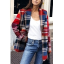 Womens Classic Color Block Plaid Long Sleeve Notched Lapel Button Down Oversized Blazer Coat