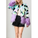Womens Stylish Colorblock Panel Long Sleeve Open Front Short Faux Fox Fur Jacket Coat