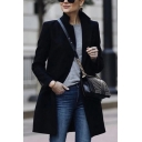 Womens Stylish Black Plain Stand Collar Long Sleeve Mid-Length Wool Coat