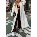 Womens Popular Plain White Notched Lapel Tied Waist Soft Plush Outdoor Long Overcoat