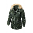 Mens Winter Popular Camouflage Pattern Fur Trimmed Hood Long Sleeve Drawstring Waist Split Back Longline Parka Coat
