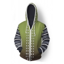 Hot Game 3D Striped Long Sleeve Zip Up Green Ombre Cosplay Drawstring Hoodie