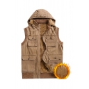Mens Plain Simple Sleeveless Flap Pocket Zip Up Hooded Thick Cargo Vest Waistcoat