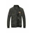 Mens Chic Applique Printed Long Sleeve Stand Collar Zip Up Slim Fit Bomber Jacket with Zipper Pocket