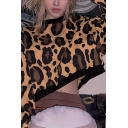 Womens Fashion Leopard Print Long Sleeve Crew Neck Long Sleeve Dark Brown Cropped Pullover Sweatshirt