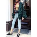 Plain Retro Ball-Knit Chunky Drop Shoulder Loose Fit Oversized Cardigan Coat