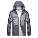 Mens Active Striped Long Sleeve Zip Closure Breathable Sheer Sunscreen Track Jacket with Hood
