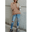 Womens Chic Plain Khaki Long Sleeve Round Neck Tunic Popcorn Sweater