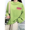 Womens Fashionable WELCOME Letter Printed Long Sleeve Baggy Pullover Sweatshirt