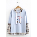 Lovely Girl and Fish THE LUNCH DATE Letter Printed Plaid Patched Long Sleeve Drawstring Hoodie