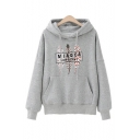 Womens Fashionable MIAOER Letter Leaves Printed Long Sleeve Pouch Pocket Casual Drawstring Hoodie