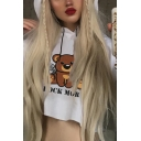 White Loose ROCK MORE Letter  Bear with Gun Printed Long Sleeve Drawstring Cropped Hoodie