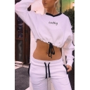 Fancy Letter CUFEY Printed Long Sleeve V-Neck Contrast Trim Drawstring Hem White Loose Sweatshirt
