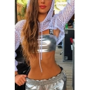 Womens Sexy Mesh Fishnet Hollow Out Long Sleeve Super Crop Hoodie