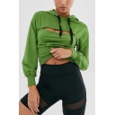 Womens Sexy Dark Green Cut Out Front Long Sleeve Slim Drawstring Hoodie