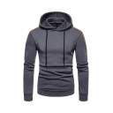 Classic Color Blocking Splicing Long Sleeve Pouch Pocket Slim Fit Drawstring Hoodie