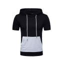 Summer Fashion Colorblock Pouch Pocket Short Sleeve Hooded T-Shirt Fitted Drawstring Hoodie