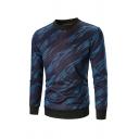 Mens Winter Warm Allover Geometric Pattern Crew Neck Long Sleeve Thick Sweatshirt Knitwear