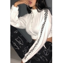 White Plaid Panel Long Sleeve Stand Collar Half Zip Cropped Pullover Sweatshirt