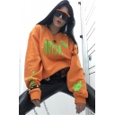 Orange Womens Popular ACIDA Letter Printed Long Sleeve Oversized Pullover Sweatshirt