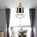 Black/White/Red Cone Shade Ceiling Pendant Country Style 1 Light Pendant Lamp with Metal Frame for Dining Room