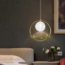 1/3-Light Pendant Light Vintage Clear/Amber/Smoke Gray Glass Ceiling Pendant with Round/Linear Canopy for Corridor
