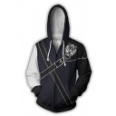 Mens Popular Logo 3D Printed Colorblock Long Sleeve Black Zipper Drawstring Hoodie