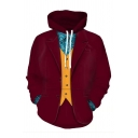 Halloween Funny Joker Clown Cosplay Long Sleeve Costume Red Pullover Hoodie with Pocket