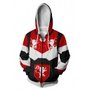Mens Cool 3D Game Figure Printed Long Sleeve Red and Black Zipper Casual Hoodie