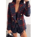 Unique Plaid Printed Long Sleeve Double-Breasted Fitted Retro Blazer Coat