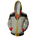 Classic Comic BrightNoa Cosplay 3D Printed Drawstring Hooded Long Sleeve Grey Zip Up Hoodie