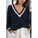 Womens Casual V-Neck Stripe Printed Long Sleeve Navy Blue Oversized Pullover Sweater