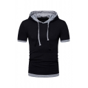 Mens Active Contrast Color Short Sleeve Fake Two Piece T-Shirt Drawstring Hoodie