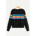Stylish Rainbow Striped Printed Long Sleeve Round Neck Regular Fit Pullover Sweatshirt