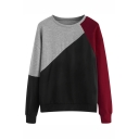 Womens Fashion Color Block Cut And Sew Round Neck Loose Fit Pullover Sweatshirt