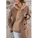 Stylish Khaki Plain Long Sleeve Notched Lapel Button Front Longline Woolen Coat for Ladies
